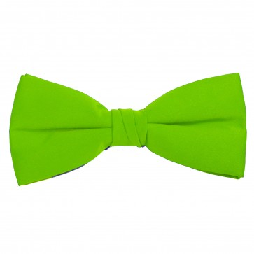 Lime Green Bow Tie Solid Pre-tied Satin Mens Ties