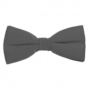 Charcoal Bow Tie Solid Pre-tied Satin Mens Ties