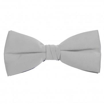 Silver Bow Tie Solid Pre-tied Satin Mens Ties