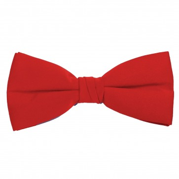Red Bow Tie Solid Pre-tied Satin Mens Ties