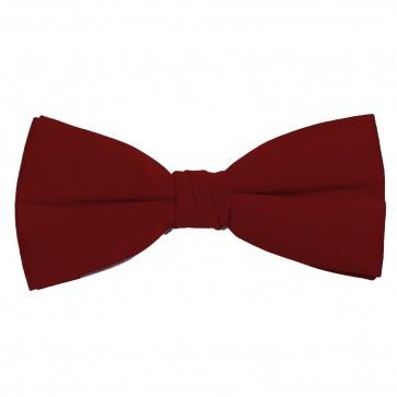 Burgundy Bow Tie Solid Pre-tied Satin Mens Ties