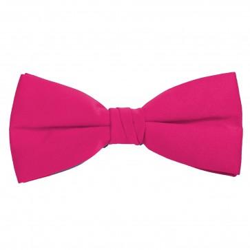 Fuchsia Bow Tie Solid Pre-tied Satin Mens Ties