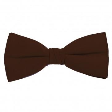 Brown Bow Tie Solid Pre-tied Satin Mens Ties