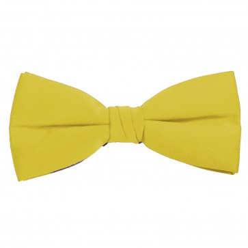 Baby Yellow Bow Tie Solid Pre-tied Satin Mens Ties