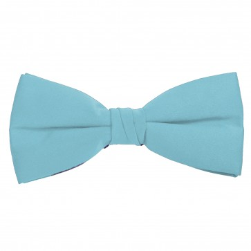 Sky Blue Bow Tie Solid Pre-tied Satin Mens Ties