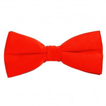 Bright Red Bow Tie Solid Pre-tied Satin Mens Ties