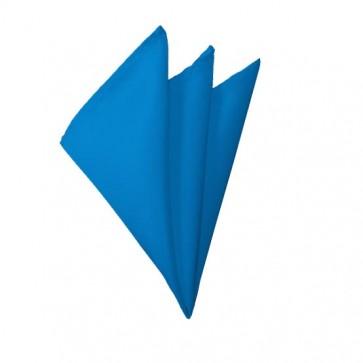 Solid Peacock Blue Hanky Mens Handkerchief Pocket Square