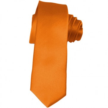 Solid Orange Skinny Ties Solid Color 2 Inch Mens Neckties