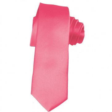 Solid Hot Pink Skinny Ties Solid Color 2 Inch Mens Neckties