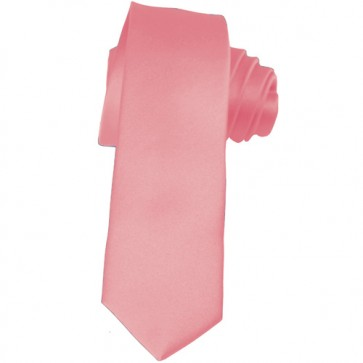 Solid Pink Skinny Ties Solid Color 2 Inch Mens Neckties