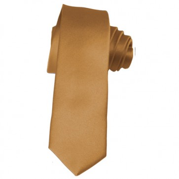 Solid Copper Skinny Ties Solid Color 2 Inch Mens Neckties