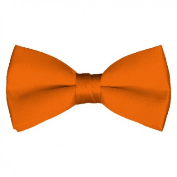 Solid Orange Bow Tie Pre-tied Satin Mens Ties