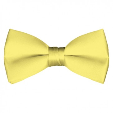 Solid Light Yellow Bow Tie Pre-tied Satin Mens Ties