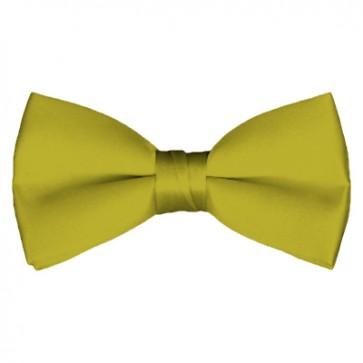 Solid Mustard Bow Tie Pre-tied Satin Mens Ties