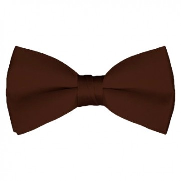 Solid Brown Bow Tie Pre-tied Satin Mens Ties