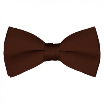 Solid Brown Bow Tie Pre-tied Satin Mens Ties