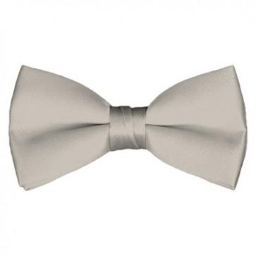 Solid Platinum Bow Tie Pre-tied Satin Mens Ties