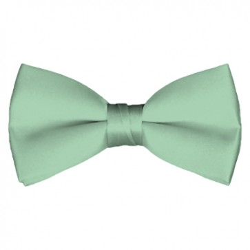 Solid Light Sage Bow Tie Pre-tied Satin Mens Ties