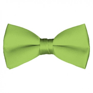 Solid Pear Green Bow Tie Pre-tied Satin Mens Ties
