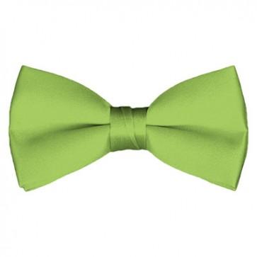 Solid Pear Green Bow Tie Pre-tied Satin Mens Ties