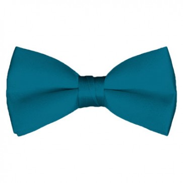 Solid Oasis Blue Bow Tie Pre-tied Satin Mens Ties