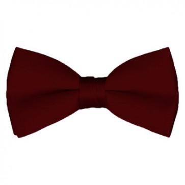 Solid Maroon Bow Tie Pre-tied Satin Mens Ties