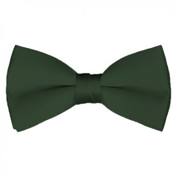 Solid Dark Olive Bow Tie Pre-tied Satin Mens Ties
