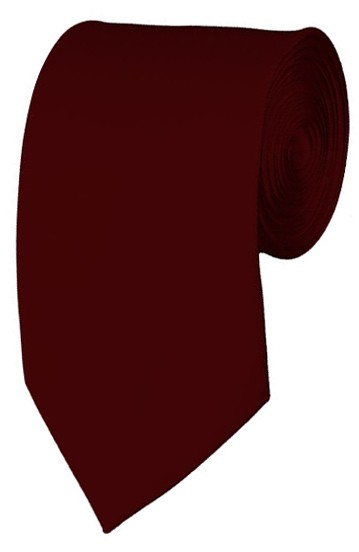 Slim Maroon Necktie 2.75 Inch Ties Mens Solid Color Neckties