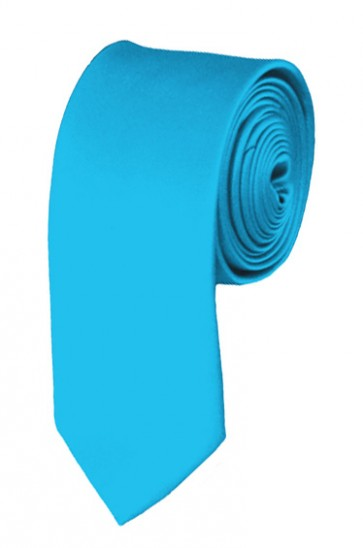 Skinny Turquoise Blue Ties Solid Color 2 Inch Tie Mens Neckties
