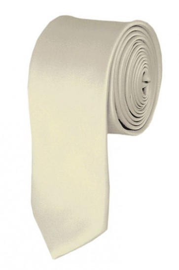 Skinny Cream Ties Solid Color 2 Inch Tie Mens Neckties