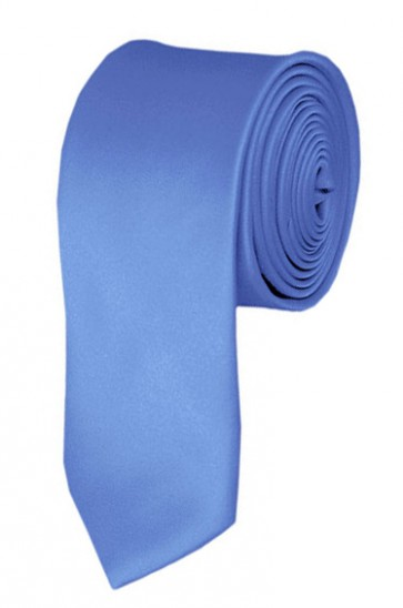 Skinny Steel Blue Ties Solid Color 2 Inch Tie Mens Neckties