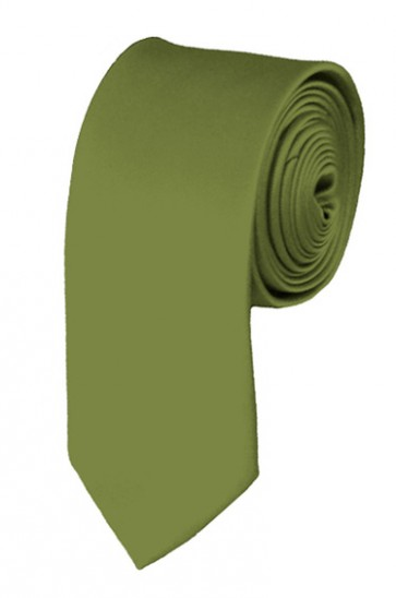 Skinny Olive Green Ties Solid Color 2 Inch Tie Mens Neckties