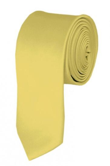 Skinny Light Yellow Ties Solid Color 2 Inch Tie Mens Neckties