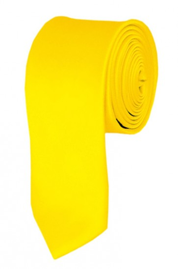 Skinny Lemon Yellow Ties Solid Color 2 Inch Tie Mens Neckties