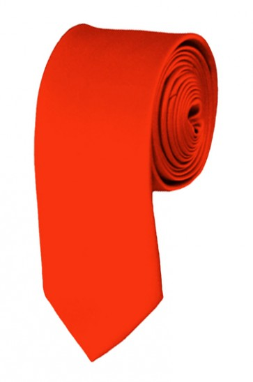 Skinny Coral Red Ties Solid Color 2 Inch Tie Mens Neckties