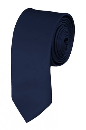 Skinny Navy Blue Ties Solid Color 2 Inch Tie Mens Neckties