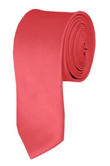 Skinny Coral Rose Ties Solid Color 2 Inch Tie Mens Neckties