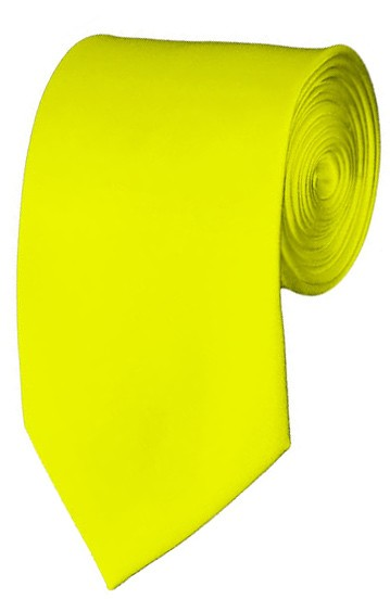 Slim Lemon Yellow Necktie 2.75 Inch Ties Mens Solid Color Neckties