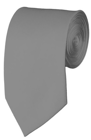 Slim Silver Necktie 2.75 Inch Ties Mens Solid Color Neckties