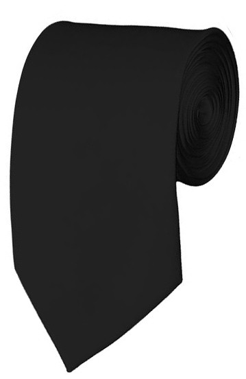 Slim Black Necktie 2.75 Inch Ties Mens Solid Color Neckties