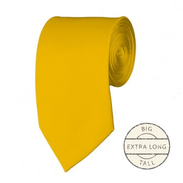 Golden Yellow  Extra Long Tie Solid Color Ties Mens Neckties