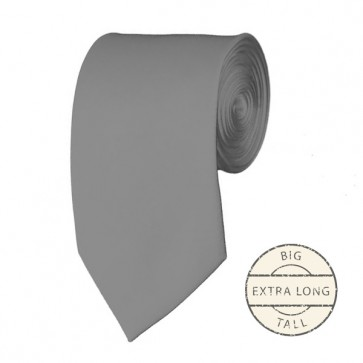 Silver Extra Long Tie Solid Color Ties Mens Neckties