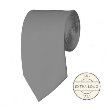 Silver Extra Long Tie Solid Color Ties Mens Neckties