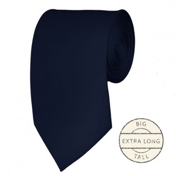 Navy Extra Long Tie Solid Color Ties Mens Neckties