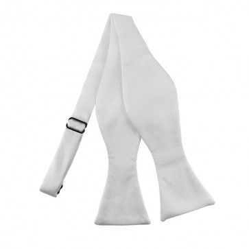Solid White Self Tie Bow Tie Satin Mens Ties