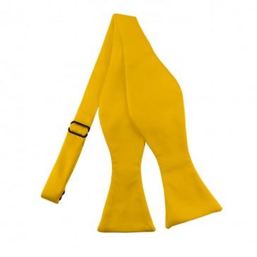 Solid Golden Yellow Self Tie Bow Tie Satin Mens Ties