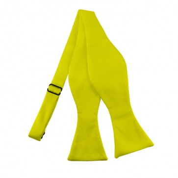 Solid Lemon Yellow Self Tie Bow Tie Satin Mens Ties