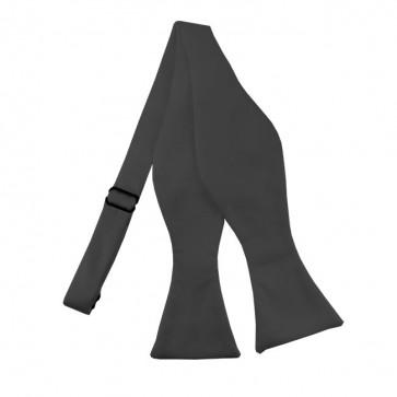 Solid Charcoal Self Tie Bow Tie Satin Mens Ties