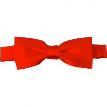 Coral Red Bow Tie Pre-tied Satin Boys Ties