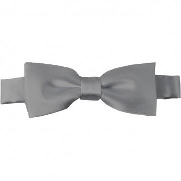 Silver Bow Tie Pre-tied Satin Boys Ties
